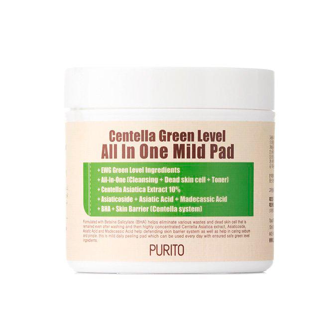 Purito - Centella Green Level All In One Mild Pad - Oczyszczające Płatki z Wyciągiem Wąkroty Azjatyckiej