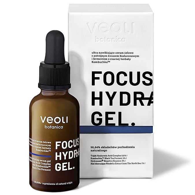 Veoli Botanica Focus Hydration Gel Ultra Nawilżające Serum Żelowe z Potrójnym Kwasem Hialuronowym i Fermentem z Czarnej Herbaty Kombuchka